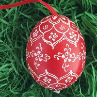 Red and White Folkloric Eastern European Egg Ornament ~ Handmade in Slovakia ~ Wax Etched