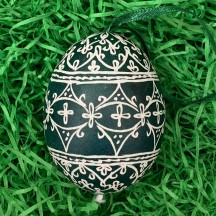 Green and White Folkloric Eastern European Egg Ornament ~ Handmade in Slovakia ~ Wax Etched