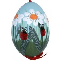 Lagybugs and Daisies with Blue Eastern European Egg Ornament ~ Handmade in Slovakia