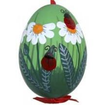 Lagybugs and Daisies with Green Eastern European Egg Ornament ~ Handmade in Slovakia