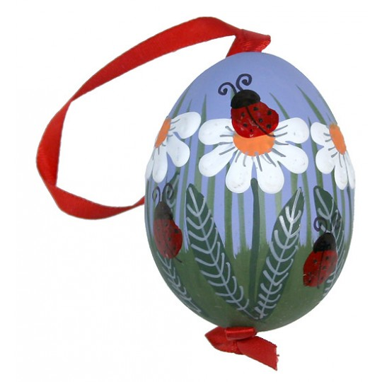 Lagybugs and Daisies with Purple Eastern European Egg Ornament ~ Handmade in Slovakia