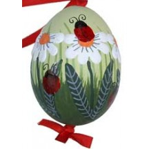 Lagybugs and Daisies with Yellow-Green Eastern European Egg Ornament ~ Handmade in Slovakia