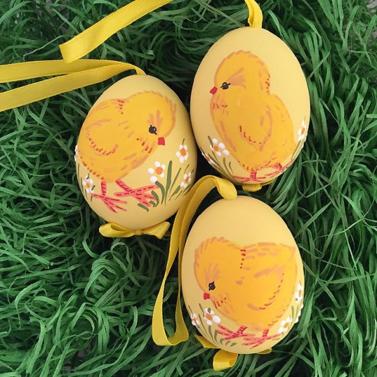 Yellow Chick Hand Painted Eastern European Egg Ornament ~ Handmade in Slovakia