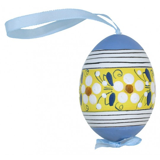 Blue Flower Stripes Eastern European Egg Ornament ~ Handmade in Slovakia