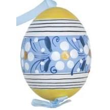 Yellow Flower Stripes Eastern European Egg Ornament ~ Handmade in Slovakia