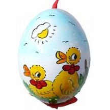 Glossy Sunny Ducklings Eastern European Egg Ornament ~ Handmade in Slovakia