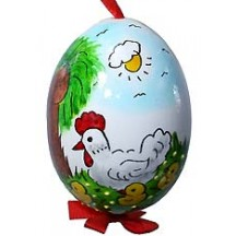 Glossy Sunny Rooster with Chicks Eastern European Egg Ornament ~ Handmade in Slovakia