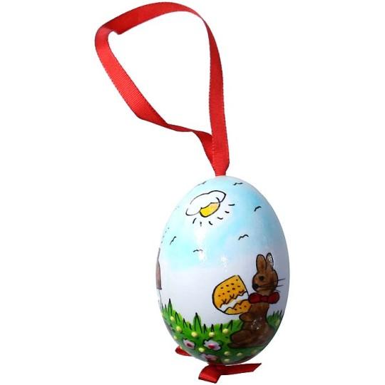 Glossy Sunny Bunny Eastern European Egg Ornament ~ Handmade in Slovakia