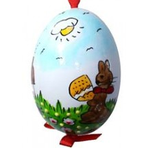 Glossy Sunny Bunny Eastern European Egg Ornament ~ Handmade in Slovakia