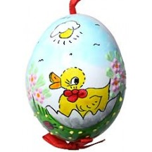 Glossy Sunny Baby Duckling Eastern European Egg Ornament ~ Handmade in Slovakia