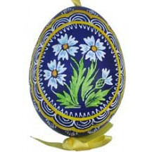 Blue Asters Eastern European Egg Ornament ~ Handmade in Slovakia