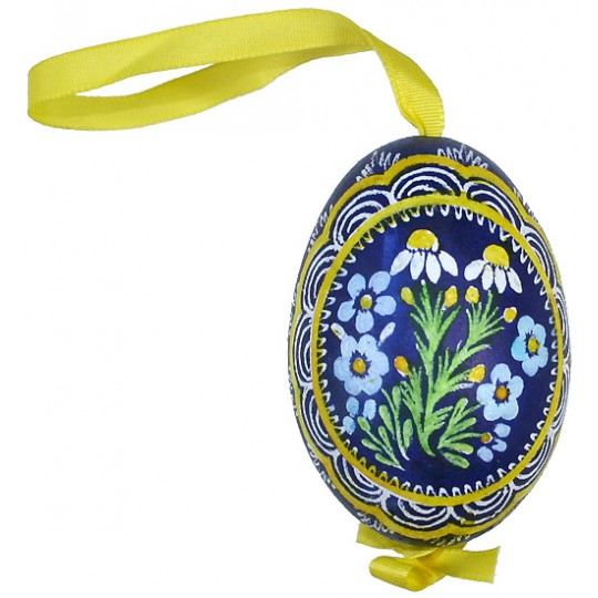 Forget Me Nots and Daisies Eastern European Egg Ornament ~ Handmade in Slovakia