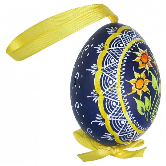 Yellow Sunflowers Eastern European Egg Ornament ~ Handmade in Slovakia