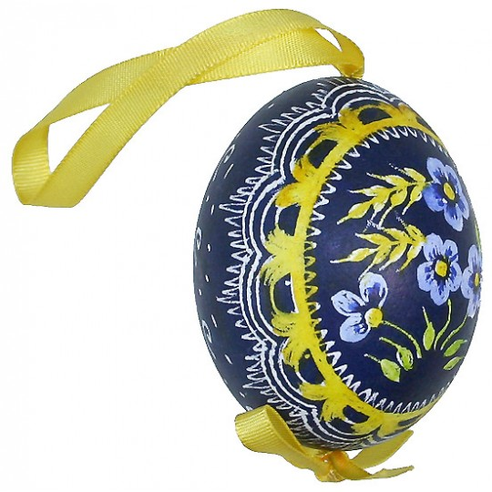 Blue Forget Me Nots Eastern European Egg Ornament ~ Handmade in Slovakia