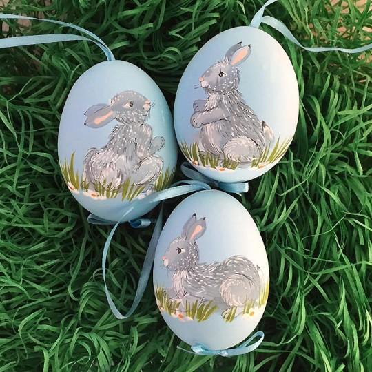 Grey Bunny Hand Painted Eastern European Egg Ornament ~ Handmade in Slovakia