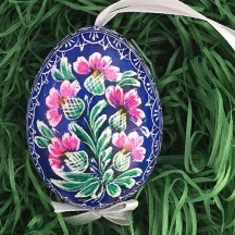 Blue and Bright Floral Eastern European Egg Ornament ~ Handmade in Slovakia