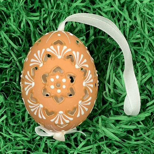 Perforated Brown Folkloric Eastern European Egg Ornament ~ Handmade in Slovakia