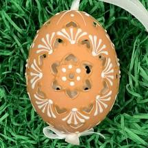 Perforated Brown Folkloric Eastern European Egg Ornament ~ Handmade in Slovakia