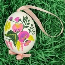 Botanical Spring Flowers Eastern European Egg Ornament ~ Handmade in Slovakia