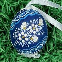 Blue Folkloric Dot and Flowers Eastern European Egg Ornament ~ Handmade in Slovakia
