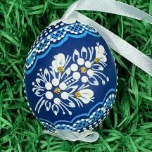 Blue Folkloric Dot and Flowers Eastern European Egg Ornament ~ Handmade in Slovakia