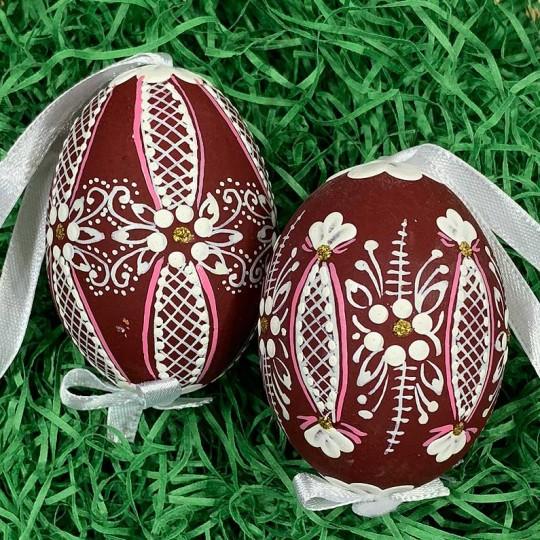 Burgundy Folkloric Dot and Flowers Eastern European Egg Ornament ~ Handmade in Slovakia