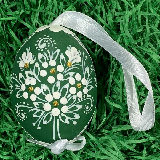 Green Folkloric Dot and Flowers Eastern European Egg Ornament ~ Handmade in Slovakia