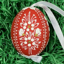 Red Folkloric Dot and Flowers Eastern European Egg Ornament ~ Handmade in Slovakia