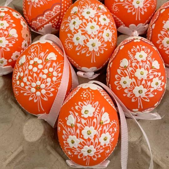Orange Folkloric Dot and Flowers Eastern European Egg Ornament ~ Handmade in Slovakia