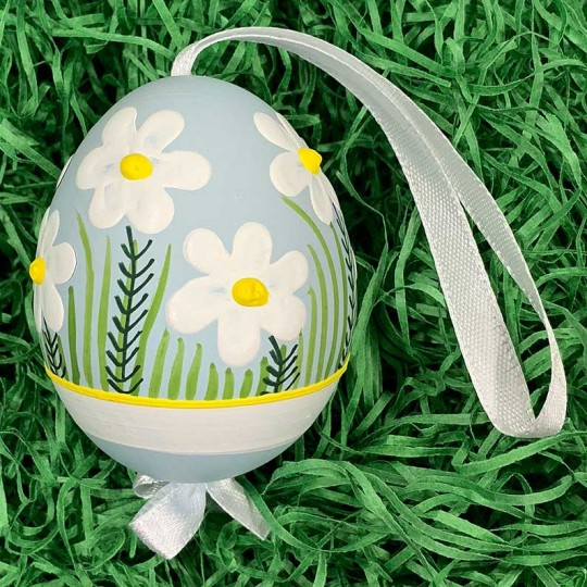 Blue Meadow Flowers Eastern European Egg Ornament ~ Handmade in Slovakia