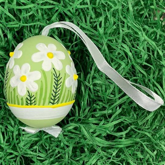 Light Green Meadow Flowers Eastern European Egg Ornament ~ Handmade in Slovakia