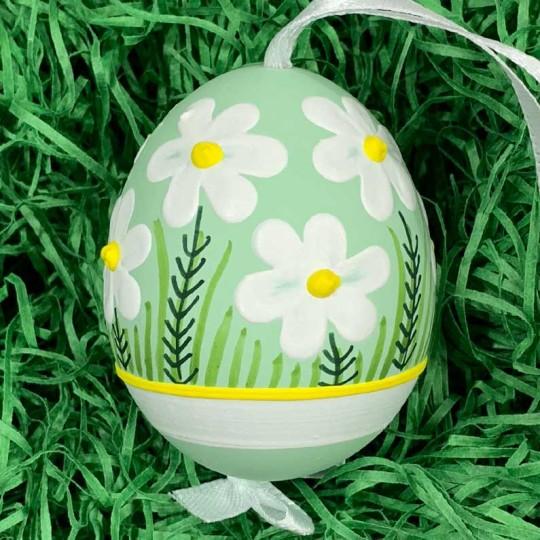 Mint Green Meadow Flowers Eastern European Egg Ornament ~ Handmade in Slovakia