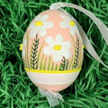 Pink Meadow Flowers Eastern European Egg Ornament ~ Handmade in Slovakia