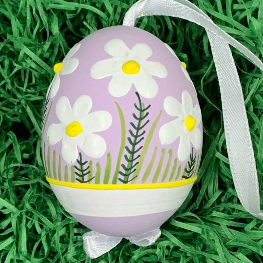 Purple Meadow Flowers Eastern European Egg Ornament ~ Handmade in Slovakia
