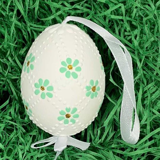 Mint Daisies Eastern European Egg Ornament ~ Handmade in Slovakia