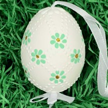 Mint Daisies Eastern European Egg Ornament ~ Handmade in Slovakia