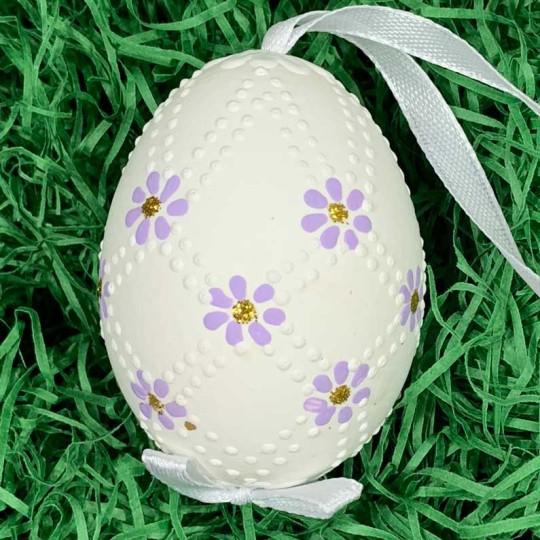 Purple Daisies Eastern European Egg Ornament ~ Handmade in Slovakia