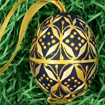Navy Blue Folkloric Straw Design Eastern European Egg Ornament ~ Handmade in Slovakia