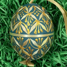 Teal Folkloric Straw Design Eastern European Egg Ornament ~ Handmade in Slovakia