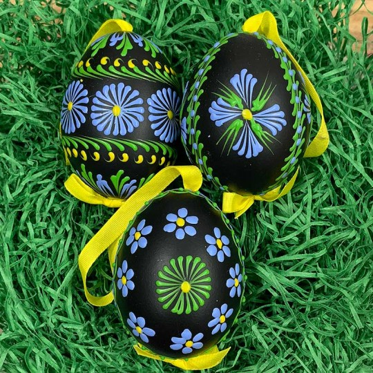 Black Folkloric Floral Eastern European Egg Ornament ~ Handmade in Slovakia