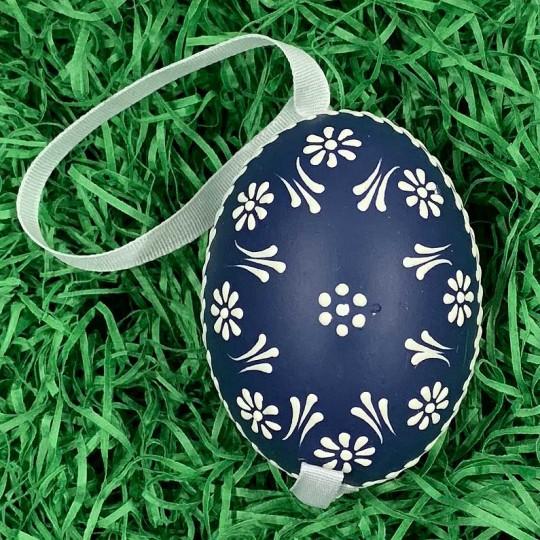 Navy Blue Dot Floral Eastern European Egg Ornament ~ Handmade in Slovakia