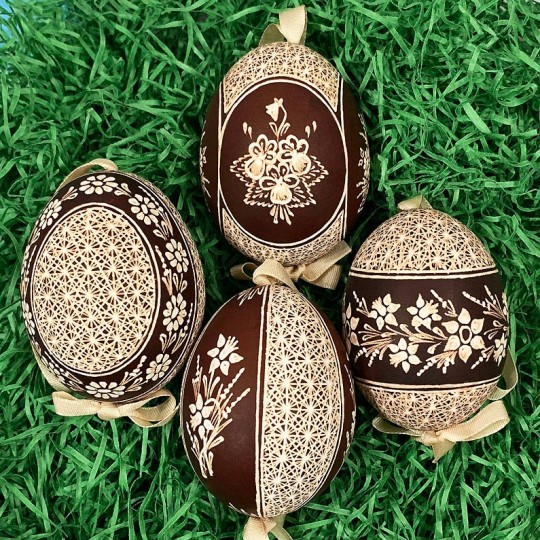 Brown Folkloric Floral Etched Design Eastern European Egg Ornament ~ Handmade in Slovakia