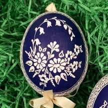 Dark Blue Folkloric Floral Etched Design Eastern European Egg Ornament ~ Handmade in Slovakia
