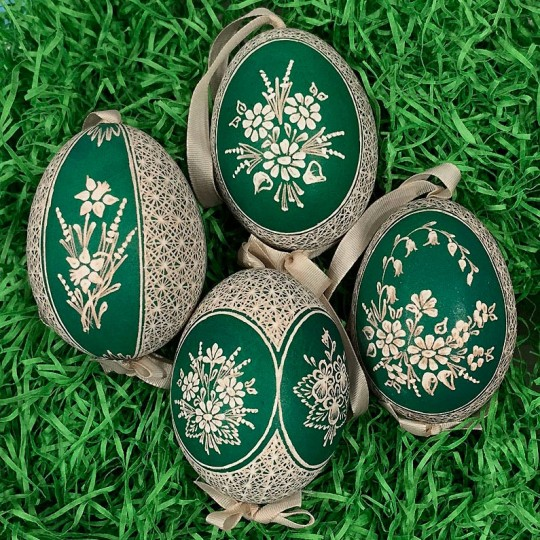 Green Folkloric Floral Etched Design Eastern European Egg Ornament ~ Handmade in Slovakia