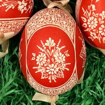 Red Folkloric Floral Etched Design Eastern European Egg Ornament ~ Handmade in Slovakia