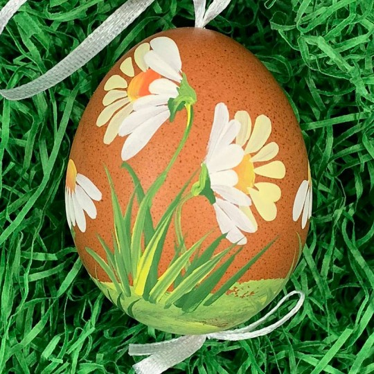 Brown Daisies Eastern European Floral Egg Ornament ~ Handmade in Slovakia
