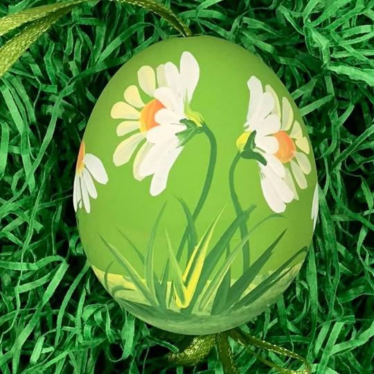 Green Daisies Eastern European Floral Egg Ornament ~ Handmade in Slovakia