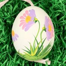 White Daisies Eastern European Floral Egg Ornament ~ Handmade in Slovakia