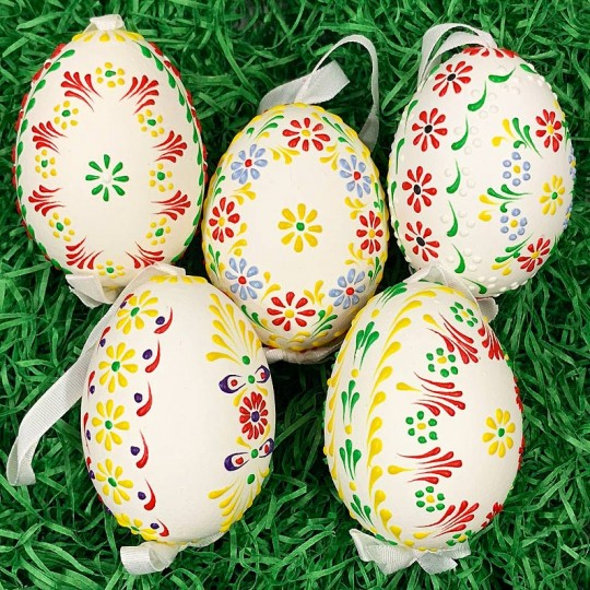 Colorful Dot Floral Eastern European Egg Ornament ~ Handmade in Slovakia
