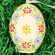 Colorful Dot Floral Eastern European Egg Ornament ~ Handmade in Slovakia